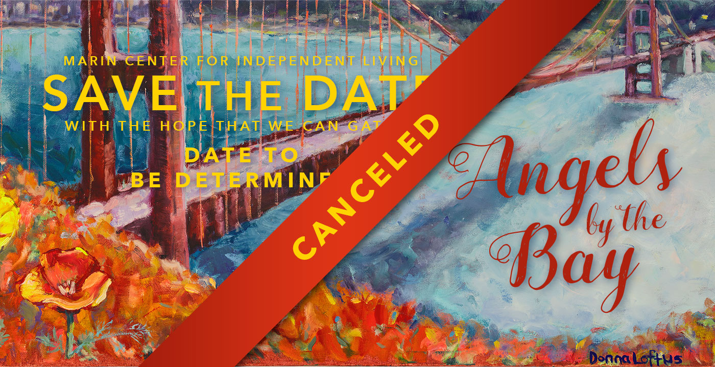 Graphic of Angels by the Bay Save the Date banner with CANCELED written across it..