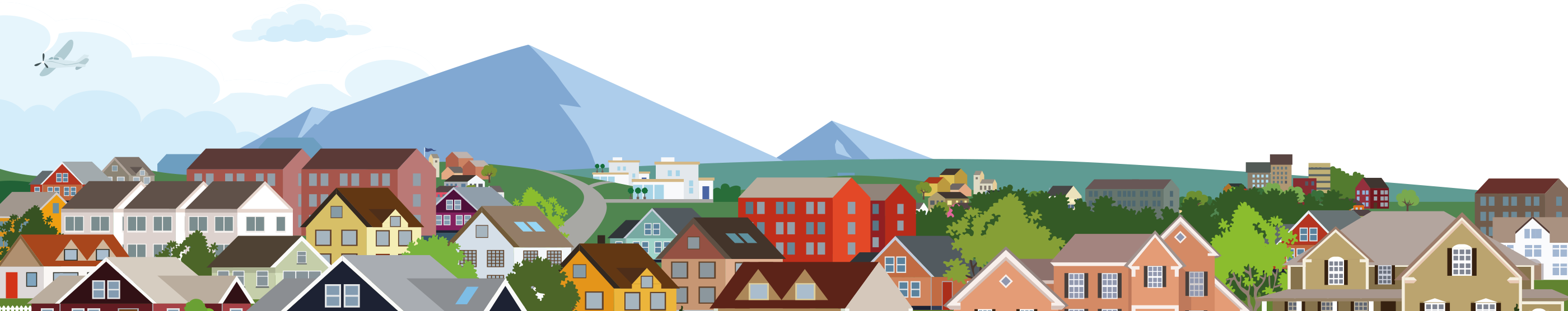Graphic illustration of a typical town in front of mountain peaks.